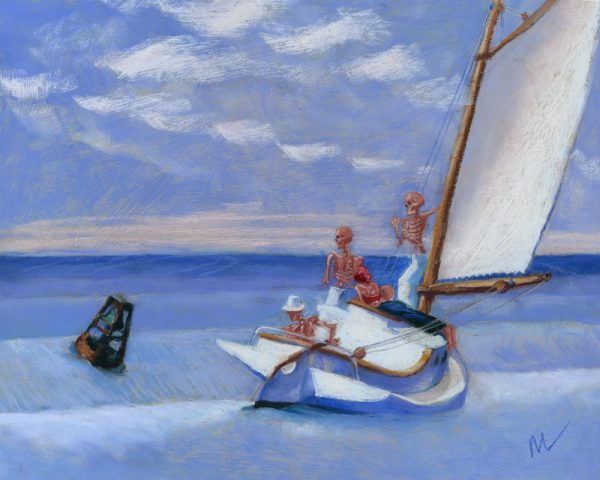 parody pastel painting of Edward Hopper's Ground Swell