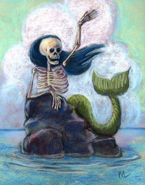 skeleton mermaid waving from the rocks in the ocean