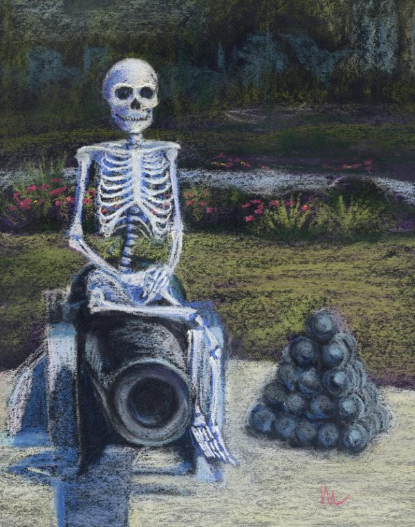 pastel painting of a skeleton posing on a cannon in St. Augustine, Florida