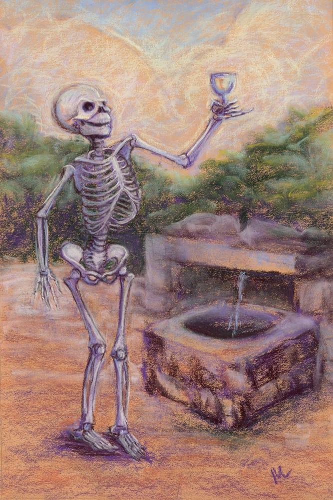 Original art skellies skeleton fountain of youth