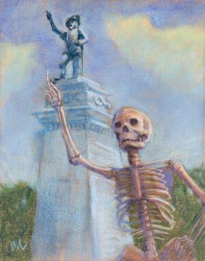 pastel painting of a skeleton tourist posing with the Ponce De Leon statue in St. Augustine, Florida