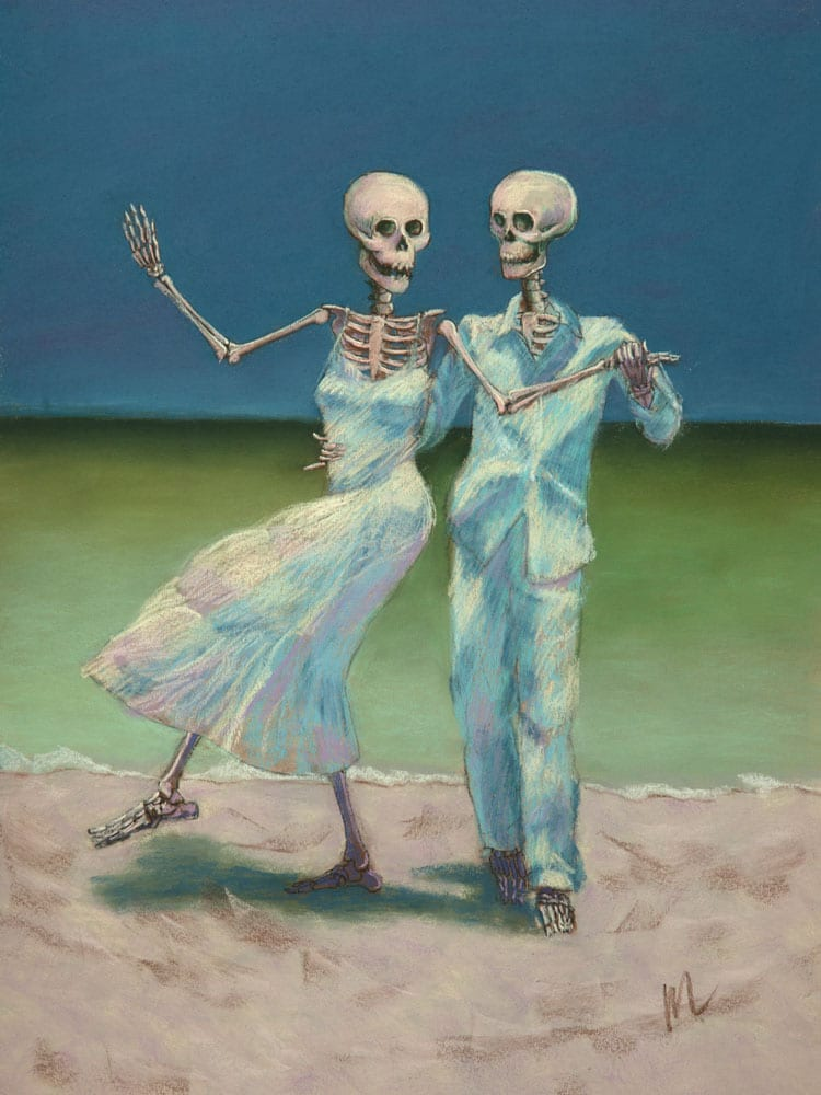 skeleton art of a couple dancing on the beach