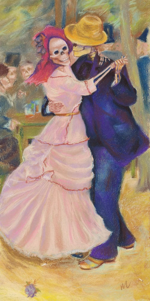 Skelly Dance at Bougival, parody pastel painting of Renoir's Dance at Bougival