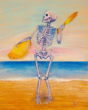 skelly dancer no. 10 pastel painting of a skeleton belly dancing on the beach