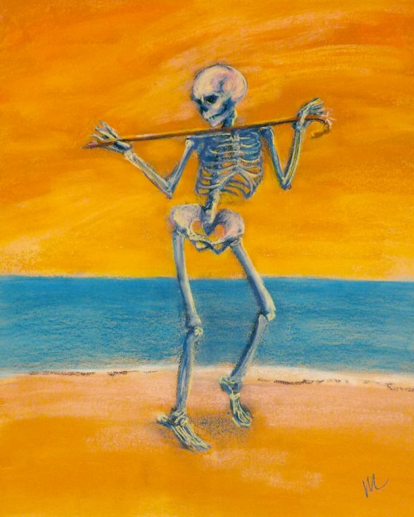 skelly dancer no. 11 pastel painting of a skeleton belly dancing on the beach with a cane
