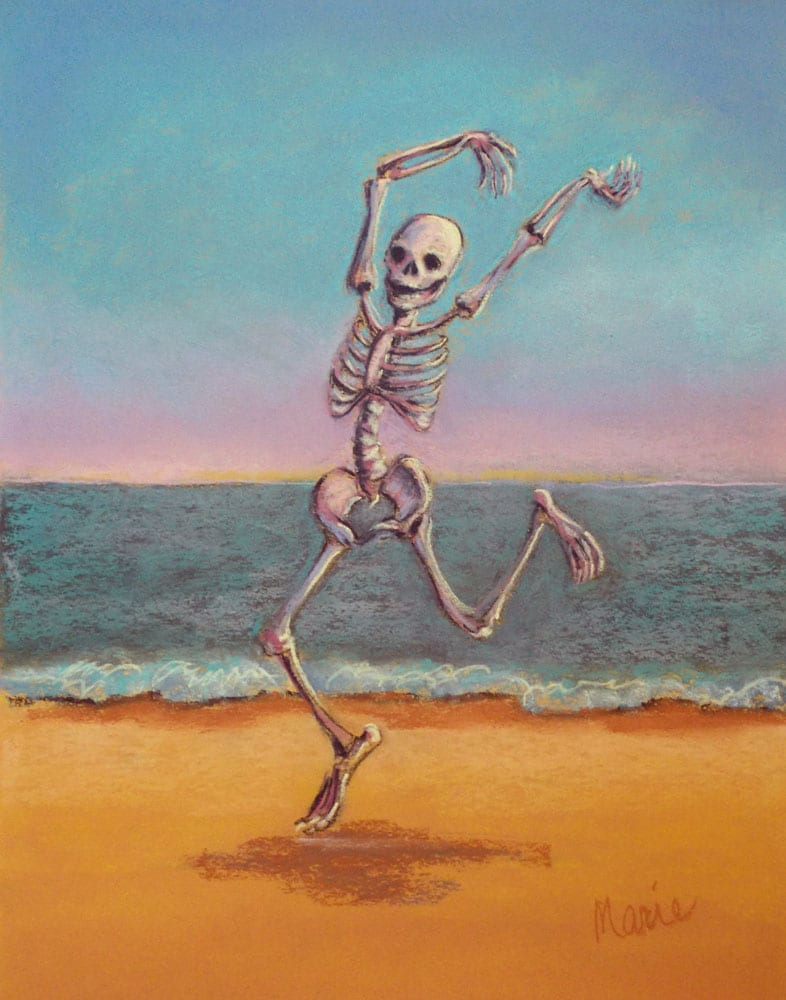 skelly dancer no. 8 pastel painting of a skeleton belly dancing on the beach