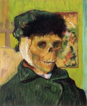 pastel portrait of Vincent Van Gogh as a skeleton