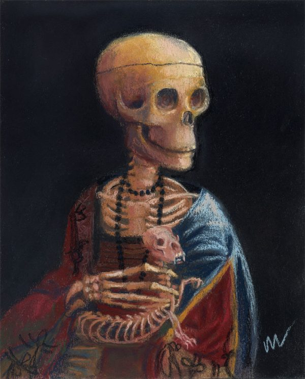 pastel painting of a skeleton holding a ferret
