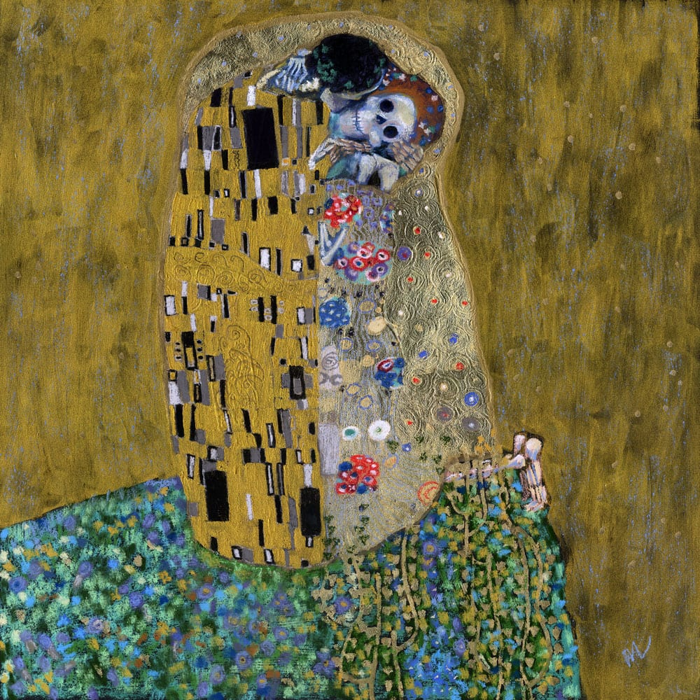 The Kiss (Skelly Lovers) is a parody of Gustav Klimt's The Kiss