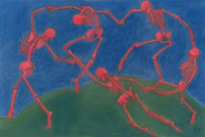 the skelly dance II is a parody of Henri Matisse's The Dance featuring skeletons dancing in a circle on a green hill
