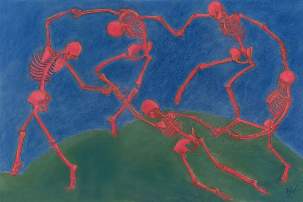 Parody pastel painting of Henri Matisse's The Dance, Old (Dead) Masters series at ArtPrize Nine.