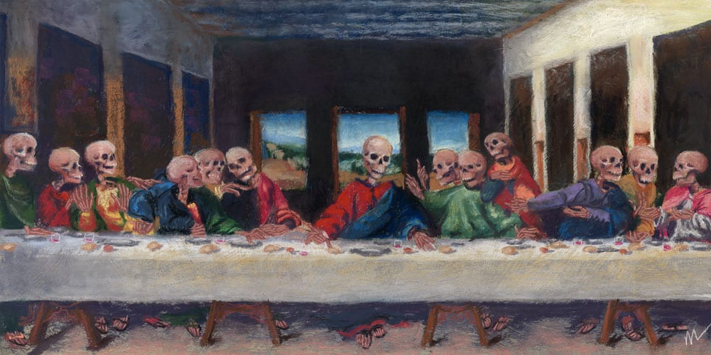 The Very Last Supper, pastel painting parody of da Vinci's The Last Supper