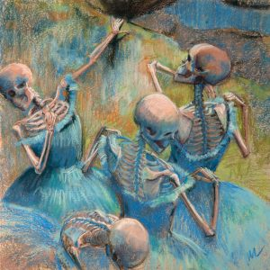 Blue Skelly Dancers is a parody pastel painting of Edward Degas's Blue Dancers