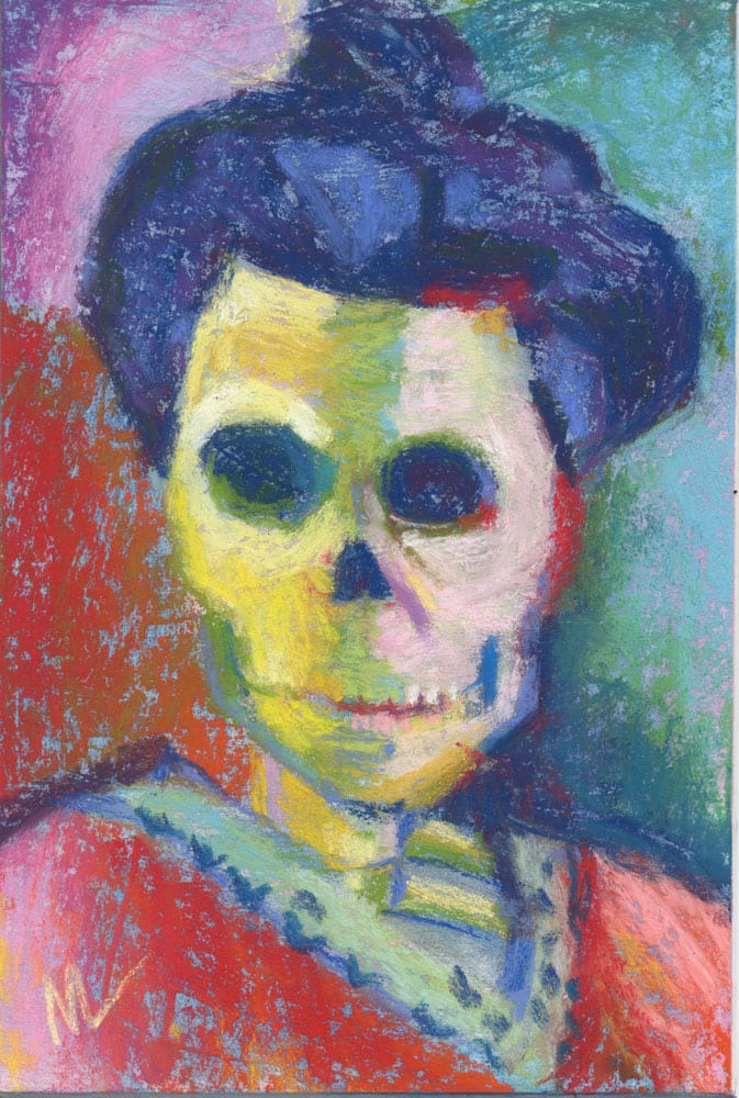 Green Stripe Skelly is a parody pastel painting of Henri Matisse's Green Stripe painting