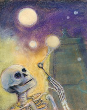pastel painting of a skeleton blowing bubbles