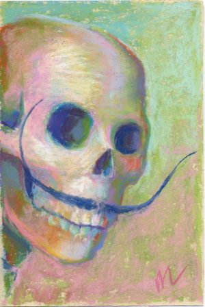 Salvador Skelly is a parody pastel painting of Salvador Dali photo