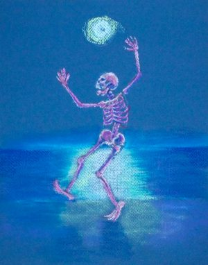 skelly dancer no. 6 pastel painting of a skeleton belly dancing on the beach in the moonlight