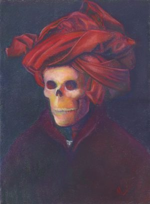 pastel painting of a skeleton in a red turban