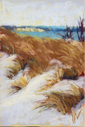 pastel painting of a bank of dunes with bluffs and Lake Michigan in the background.
