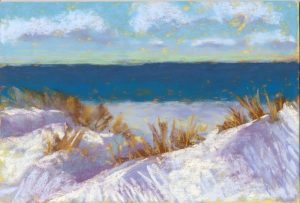pastel painting of sand dunes with snow, grass, sky, water