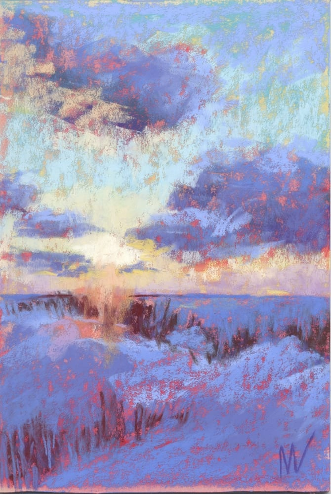 pastel painting of a sunset landscape at the end of US-10 in Ludington, MI