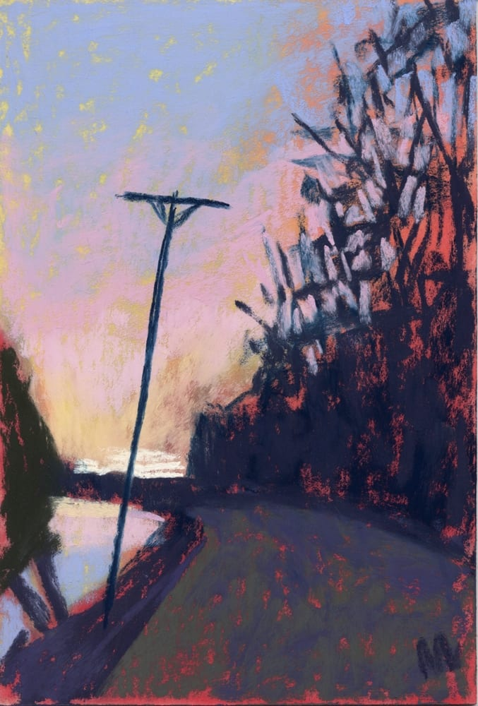 pastel painting of a curve in the road, sunrise, lake