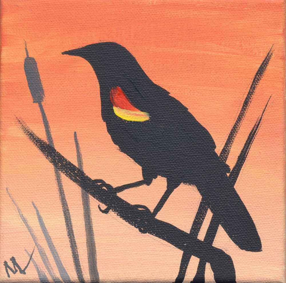 red wing blackbird silhouette painting