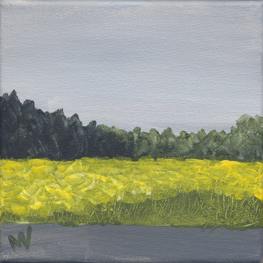 landscape painting with mustard field under a gray sky