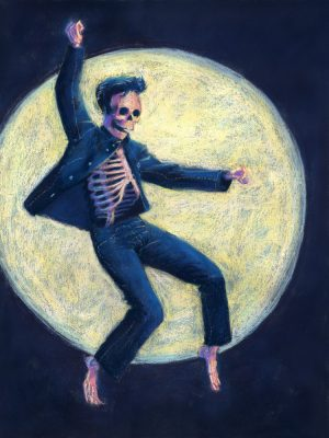 pastel painting of Elvis Presley as a skeleton doing Jailhouse Rock