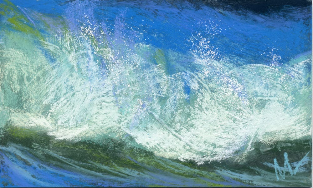pastel painting of a wave crashing