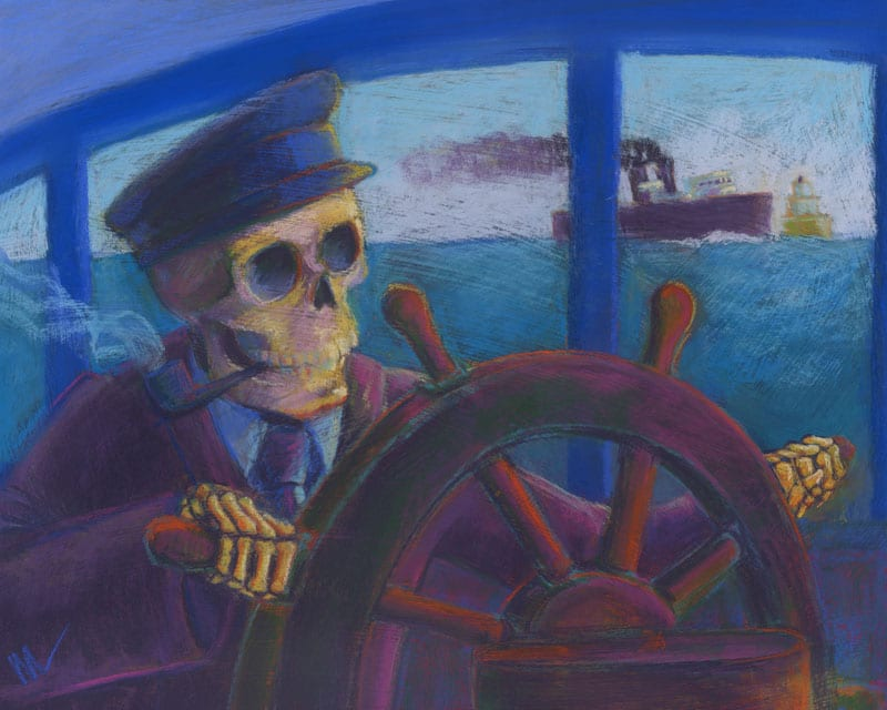 pastel of a skeleton carferry captain