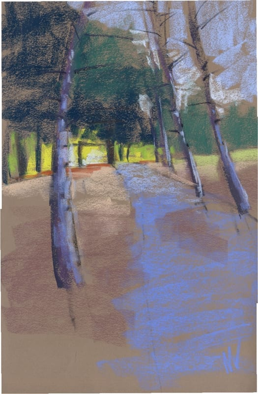 pastel painting of a path toward the river