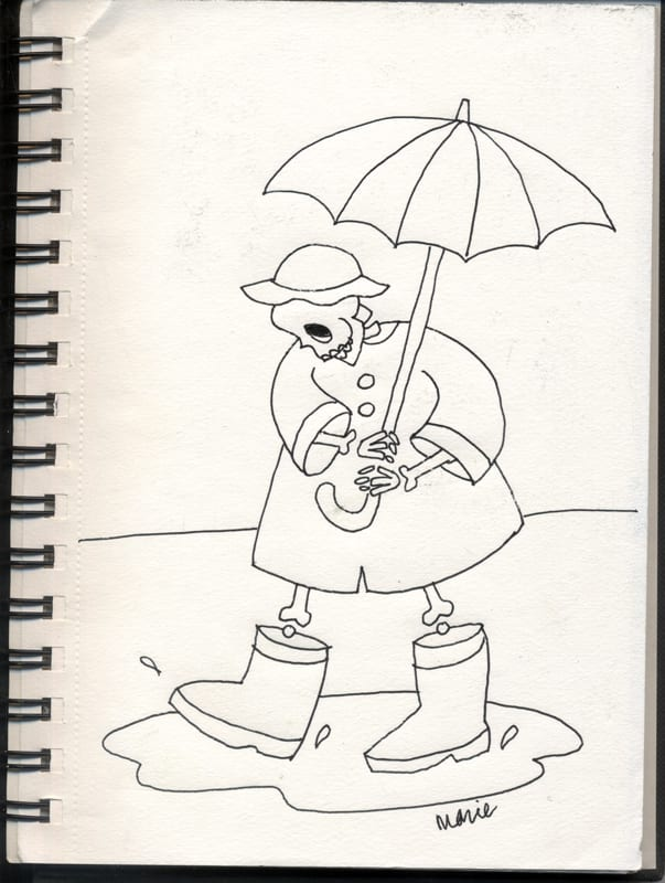 Skeleton playing in a puddle in the rain with an umbrella boots and macintosh