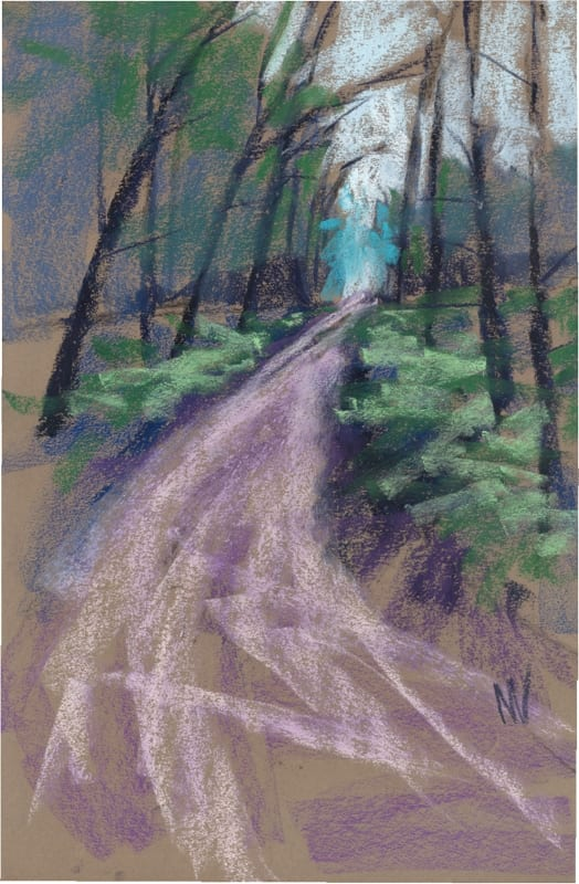 pastel painting about a walk in the woods