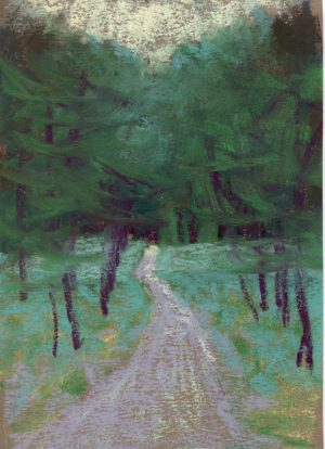 pastel painting of a path through the woods