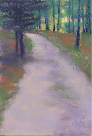 pastel painting of a road through the woods