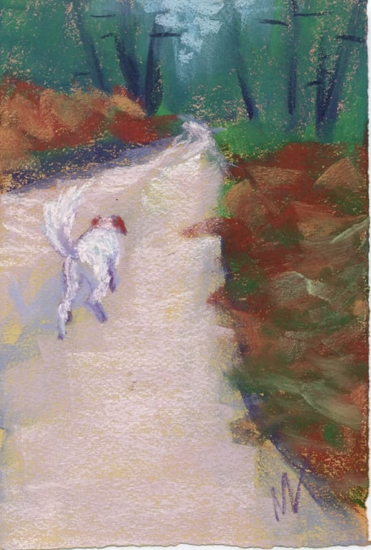 morning walk with daisy pastel painting of my dog on a path