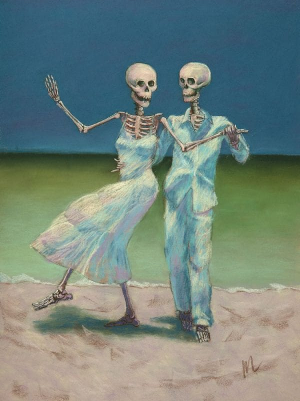 pastel painting of a skeleton couple dancing on the beach