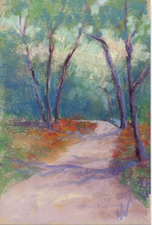 pastel painting of a sunlit path through the woods