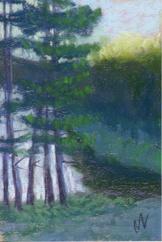 tall pines over the pere marquette pastel painting of a river in