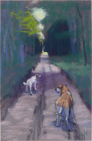 pastel painting of two dogs in the woods