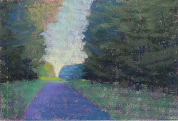 pastel study of a sky and woods and a road