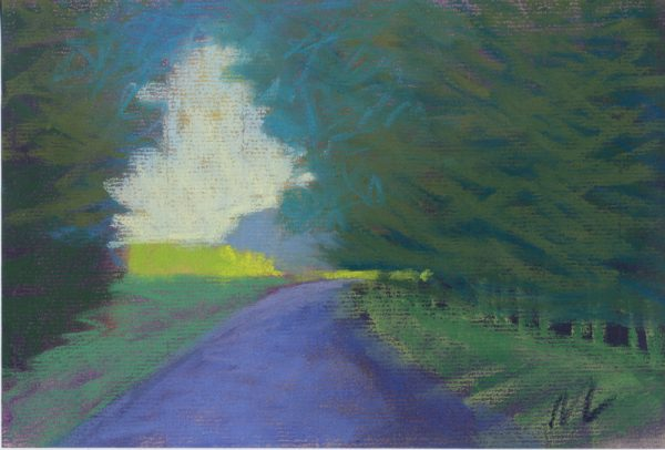 pastel study of a road through the woods