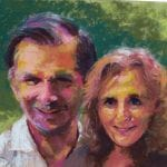 pastel portrait of a smiling couple in pastel