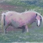 pastel painting of a fat little pony