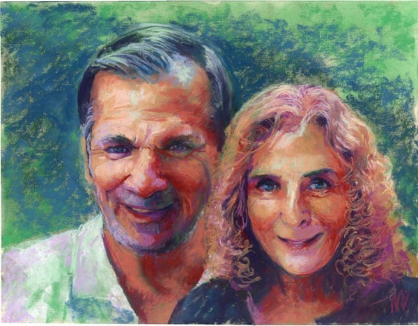 pastel portrait of a husband and wife couple