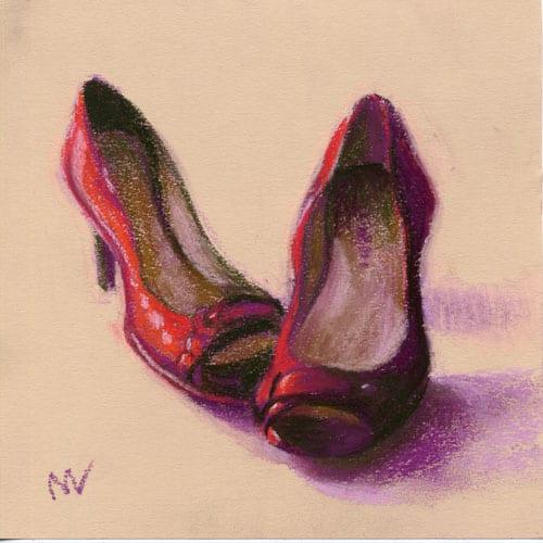 red high heels in pastel