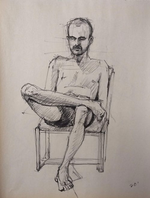 man sitting in a chair figure study 20 minutes charcoal on newsprint