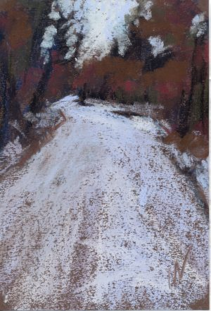 pastel painting of a snowy road through the woods