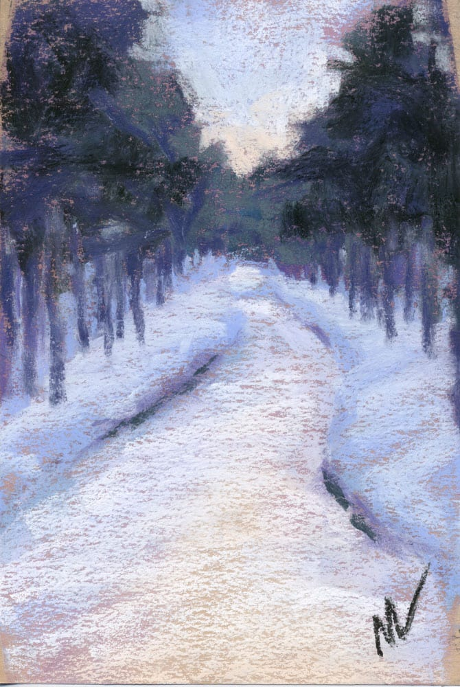 pastel painting of a snow covered path through the woods